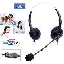 T601 Call Center Customer Service Headset Earpiece Light USB2.0 fr XP/Win7/Win10