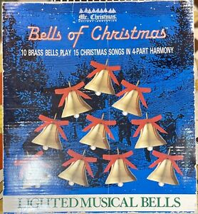 "Vintage Mr. Christmas ""Bells of Christmas"" 10 Lighted Musical Brass Bells EUC"