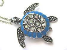 Sea Turtle Pendant Necklace & Chain ~ Dark  Silver Tone