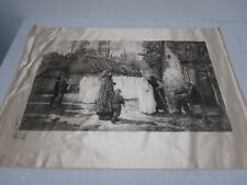 ANTIQUE 1886 PRINTED KLACHNER SILK OF PAINTING JULES BRETON FIRST HOLY COMMUNION