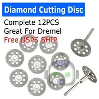 12 PCS Diamond Cutting Wheel Saw Blades Cut Off Discs Set for Dremel Rotary Tool