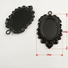 37818 Black Alloy Leaf Shape Cameo Setting Cabochon Bases Inner 25*18mm 8pcs