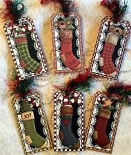 Christmas Stockings~6 Large Hang Tags~Scrapbooking~Cards~#131~judysjemscrafts