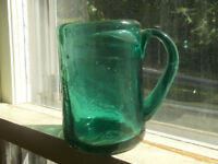 PONTILED EARLY CRUDE GREEN GLASS HAND BLOWN MUG W/APPLIED HANDLE BUBBLY GLASS