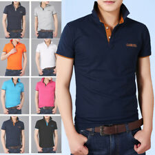 Mens Short Sleeves T-Shirts Turndown Sports Tops Slim Polo Shirts Multicolor D87