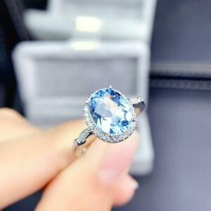 2Ct Oval Cut Diamond London Blue Topaz Halo Engagement Ring 14K White Gold Over