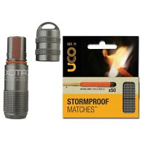 Exotac Matchcap Gunmetal and Uco 2-Pack Stormproof Matches (50 Matches Total)