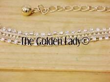 BNWT GOLD DIAMOND EMBELLISHED LONG ADJUSTABLE WAISTBAND CHAIN BELT FOR DRESSES