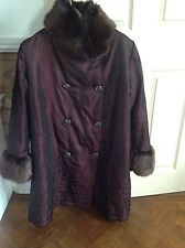 LADIES LONG JACKET WITH FAUX FUR COLLAR AND CUFFS BY NEO NOBLE SIZE LARGE
