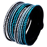 Crystal Bracelet Rhinestone Slake Deluxe Aqua Blue Bracelet Swarovski Element