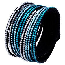Crystal Closure Rhinestone Slake Deluxe Aqua Blue Bracelet Swarovski Element