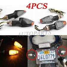 4x Motorcycle Bike Black LED Turn Signal Blinker light Indicator Clear Universal