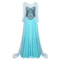 Sparkly Queen Princess Cosplay Adult Womens Halloween Costume Dress Long Sleeves