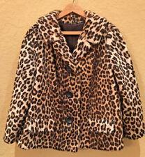 Vintage 1960s LEOPARD SKIN Short COAT Faux Fur 60s Sportowne SOMALI No Flaws M-L