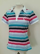 Cotton Classic Collar Polo Striped Tops & Shirts for Women