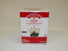 100 Clear Mini Bulb Green Wire Christmas Lights Set 23' Indoor Outdoor Tree