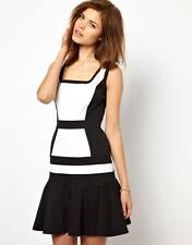 KAREN MILLEN  BLACK WHITE color block DRESS SIZE 10 12 NEW