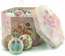 Set of  14 Decoupage Christmas Vintage design Baubles NEW  18893