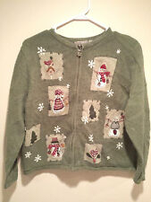 "Vintage Tacky Ugly Christmas Sweater - XL Green ""Snowmen Stamped My Sweater"""