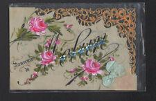MELUN (77) Carte Celluloide à dentelle & ruban de soie SOUVENIR peinte à la main