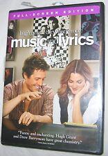 Music and Lyrics DVD 2007 Hugh Grant, Drew Barrymore Comedy FREE SHIPPING U.S.A.
