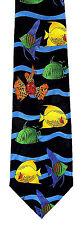 Fish Waves Men's Neck Tie Fishing Sea Ocean Animal Casual Black Necktie