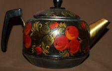 Vintage Russian hand painted floral metal teapot kettle