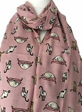 Cat Scarf Pink Sleeping Cats Wrap Ladies Siamese Tabby Kitten Shawl Gift Idea