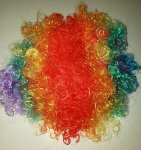 NEW RAINBOW CLOWN WIG CURLY FITS MOST ADULTS AND CHILDRENS NIP one size CUTE @@