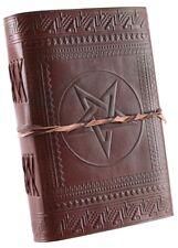 Lederbuch Mittelalterbuch Notizbuch aus Leder mit Pentagramm
