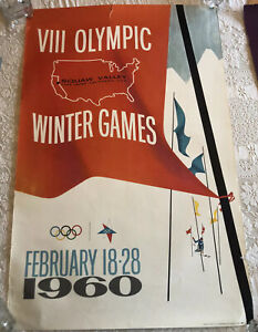 Squaw Valley Lake Tahoe 1960 Winter Olympics Vintage Advertising Poster Original