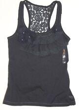 NWT! ABERCROMBIE KIDS Girl Ruffle Embellished Lace Tank Top Shirt Navy M