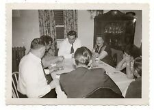 Vintage Photo Poker Game & Coffee, Family, Dining Room Table, 1950's Nov