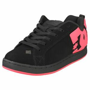 DC Shoes Court Graffik Womens Black Hot Pink Skate Trainers