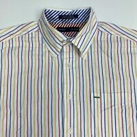 Tommy Hilfiger Button Up Shirt Mens Large Short Sleeve Multi Striped 100% Cotton