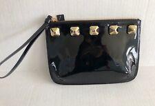 GIUSEPPE ZANOTTI Patent Leather Studded Wristlet Clutch Black