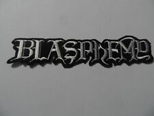 BLASPHEMY,IRON ON WHITE EMBROIDERED PATCH