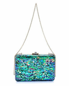 Judith Leiber Slim Slide Under The Sea Multi Shell And Leather Handbag M190663