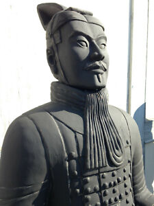 Terrakotta Offizier 193cm (Armee, Soldat, Krieger), lebensgroß, anthrazit