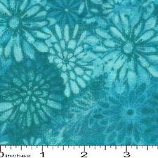 "108"" Quilt Backing Batik Tonal Light Aqua Flower, By the yard/100% Cotton"
