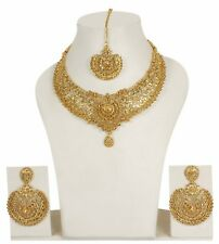10011 Indian Fashion Jewelry Necklace Set Gold Plated Bollywood Wedding Earrings