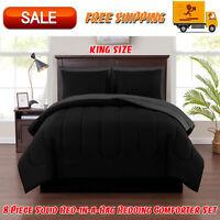 8 Piece Solid Bed-in-a-Bag Bedding Comforter Set with BONUS Sheets, King, Black