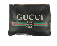 GUCCI Black Calfskin Logo Print Zip Clutch Bag