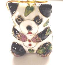 "Panda Cloisonne Ornament:1 3/4"" H X 1 9/16"" W:Hand Made:China:X-mas Gift, Decor"