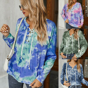 Blouse Pullover Feature Front Pocket Tee Women Tie-Dye Tie Rope Long Sleeve Top