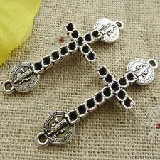 Free Ship 88 pcs tibetan silver Jesus cross connectors 39x13mm #4669