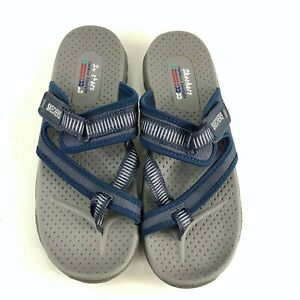 Skechers Women's Reggae Seize The Day Sandals Gray Navy Toe Thong Size 9