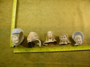 5 x excavated badly damaged vintage victorian doll head age 1860 Germany B 436