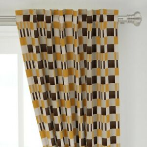 """Bauhaus Safran Grey Black Stripes 50"""" Wide Curtain Panel by Roostery"""