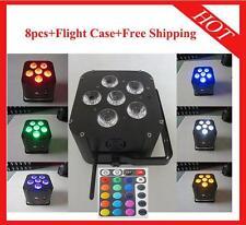 8pcs 6*18W RGBWAUV 6 in 1 Wireless DMX512 Battery Led Par64 Light Flight Case